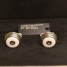 PORSCHE DESIGN P'3400 CUFFLINKS STAINLESS STEEL KOKOLONG (WHITE OPAL) NIBWL&S.