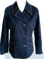 Dash Dark Blue Denim Jacket Cotton Buttons Coat White Stitching Pockets Size 10