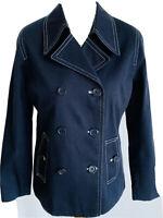 Dash Dark Blue Denim Jacket Cotton Buttons Coat White Stitching Pockets Size 10