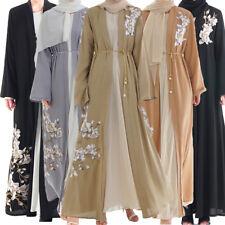 Women Embroidery Long Cardigan Abaya Dress Muslim Kimono Open Front Jilbab Robe