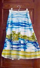 Blue Green White Gondola Skirt Size 8