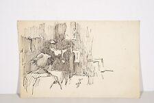 Jules PONCEAU Dessin à l'Encre Bordeaux 1912 Personnage féminin de dos dessinant