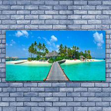 Wall art Print on Plexiglas® Acrylic 140x70 Beach Palm Trees Bridge Sea