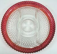 "Vintage RubyFlashed Diamond Point Indiana Glass 12"" 3section Divided Relish Dish"