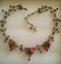 be0ab31fbc8 Signed COLLEEN TOLAND Pink Mauve Green Adjustable Dangle Bead Necklace  flowers