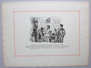 Schausteller, Jahrmarkt, Humoreske, Karikatur. Stich nach E. Harburger 1884