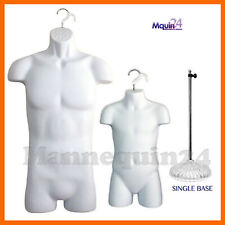 Male & Child Torso Dress Forms Set + 1 Stand + 2 Hangers - White Mannequins