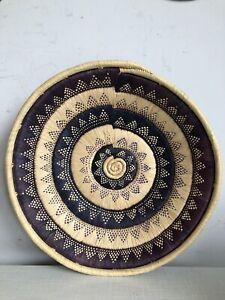 Handmade Woven Swirl Patterned Grass Basket Dish Bowl Boho Tiki Wall Art