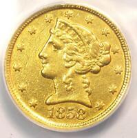 1858-C Liberty Gold Half Eagle $5 - ANACS XF40 Detail - Rare Charlotte Gold Coin