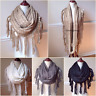 Women's Chunky Cable Knit Long Infinity Scarf Fringe Tassel Boho  Cowl Winter