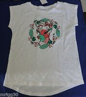 Girls size 9 10 12 14 or 16  CHRISTMAS sparkly reindeer  white  Xmas Tee t-shirt