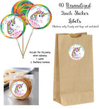 40 UNICORNS Personalize STICKERS for Lollipops, goody bag, birthday party favors