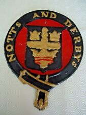 NOTTS AND DERBYS CAST IRON FIRE INSURANCE WALL PLAQUE - REPLICA IN LEAD