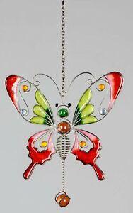 Hängedeko Fensterdeko Hängedeko Schmetterling Tiffanyglas in rot grün, 16x37 cm