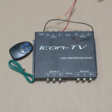 Icon TV Audio Video 4 IN 4 OUT Switcher With RF Wireless Remote AVSW44 NEW