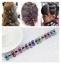 6 Pcs Crystal Flower Mini Hair Claw Clamp Hair Clip Hair Pins Hair Accessory