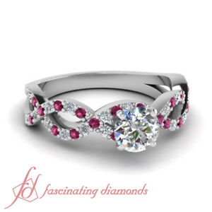 1 Carat Infinity Style Sapphire And Diamond Rings Pave Set With Round Cut Center