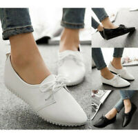 Women Ladies Leather Oxfords Pointy Toe Casual Flats Preppy Moccasin Shoes  UK