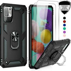 For Xiaomi Redmi Note 10 5G Case Slim Shockproof Ring Armor Cover + Screen Glass