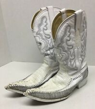 White Diamonds Diamond Studded Rodeo Look Alligator Extended Toe Boots Size 9/28