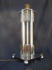 Lampe moderniste bronze nickele cristal vers 1950 attribué Jacques Adnet