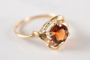 14k Yellow Gold Faceted Amber Tone Citrine Topaz Open Sweep Ring Size 6-3/4