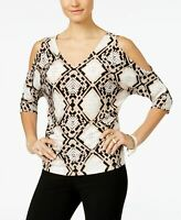 INC International Concepts Petite Printed Cold-Shoulder D Snake Stain PS