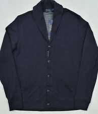 Polo Ralph Lauren Pima Cotton Cardigan Sweater Shawl Collar Navy L NWT $145