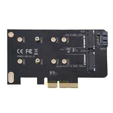 2 Slots Adapter Card of M key PCI-E X4 and B key for M.2 NGFF SSD & SATA Cable