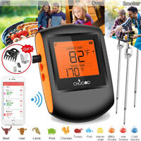 3 Probes Wireless Bluetooth BBQ Meat Thermometer Food Cooking Oven Grill Smoker