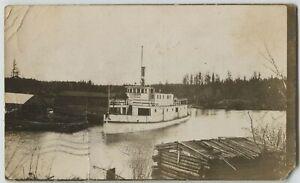 1910 era Steamer on Sturgeon Lake Ontario Canada Real Photo Postcard RPPC