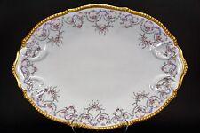 "Elite Limoges Rose Swags Purple Gold 16"" Large Platter Serving Plate"