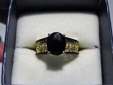 Black Sapphire & Spinel ring (4.10ct) in 14K YG& Plat/925 size 9