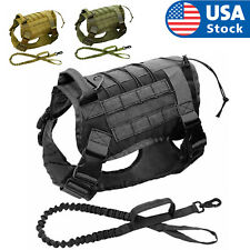 Tactical K9 Training Molle Dog Military Adjustable Nylon Vest Harness +Leash USA