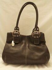Tignanello Dark Brown Leather Tote Shoulder Bag Purse Hand Bag