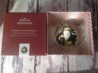 Evergreen Father Christmas Blown Glass Hallmark Keepsake Ornament ~ New In Box