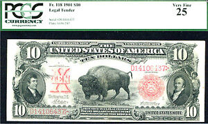 1901 $10 LEGAL TENDER (FR#118-RARE)PMG 25-(10 TIMES RARER THAN 114 TO 122)