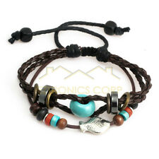 Ethnic hemp leather strap Charm bracelet Heart-shaped three-wire Bangle Jewelry