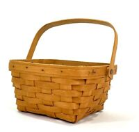 Vintage 1990's Longaberger Basket with Handle and Plastic Protector