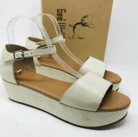 Gee WaWa Anthropologie Platform Shoes Sz 10 Daisy Distressed Sandals Cream $198