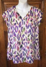 CAbi 5027 Multi Color Cap Sleeve Abstract Feather Print BLOUSE SHIRT TOP, Sz S