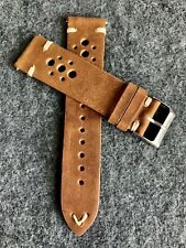 22mm BROWN Racing Vintage Leather watch band strap WHITE Quick Release