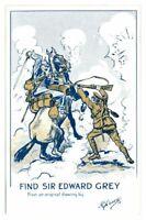 Antique WW1 printed postcard Find Sir Edward Grey artist signed A E Horne