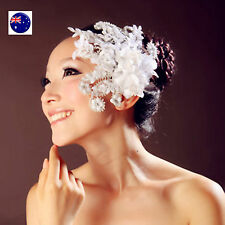 Women Lady White Feather look flower Dance Party Hair head accessory fascinator