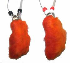 ORANGE RABBIT FOOT NECKLACE w beads suede leather bunny feet jewelry mens womens