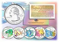 2002 HOLOGRAM U.S. MINT STATE QUARTERS * Complete Set of 5 Coins * with Capsules