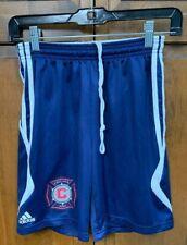 adidas Chicago Fire Soccer Club MLS Boys L Shorts Blue Football Old Badge Logo