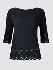 per Una Pure Cotton Broderie Peplum T-shirt Navy Size UK 12 Dh088 SS 26