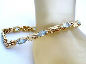 "Sterling Silver Blue Topaz Tennis Bracelet Vermeil Gold Plated 7.5"" Long W"