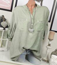 camisa blusa EXTRA GRANDE Remaches VINTAGE Camisa pescador Caqui Verde